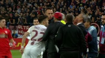 Dinamo si CFR, aproape de BATAIE la marginea terenului! Imagini incredibile! Gest golanesc facut de Romario, Rednic a fost lovit peste fata de un jucator de la CFR. VIDEO