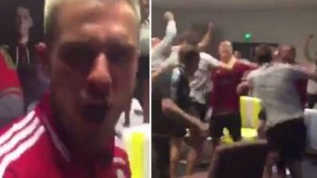 Nu doar islandezii au declansat fiesta dupa eliminarea Angliei! Rivalii galezi au sarbatorit in vestiar infrangerea lui Rooney si Sterling | VIDEO