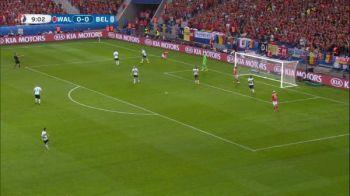 Prima ocazie a Tarii Galilor in meciul cu Belgia e ratata de Gareth Bale. VIDEO