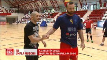 """""""Bombardament"""" la handbal! Dinamovistii s-au antrenat pentru Champions League cu Ion Pascu, cel mai bun roman din MMA. VIDEO"""