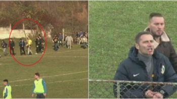 Scene incredibile la meciul Petrolului din liga a patra: suporterii au navalit pe teren cu un PAR cat un bustean, directorul sportiv s-a ales cu buza sparta