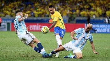 Brazilia lui Neymar a pulverizat Argentina lui Messi azi-noapte. SOC: argentinienii pot rata Cupa Mondiala din Rusia! Cat s-a terminat partida