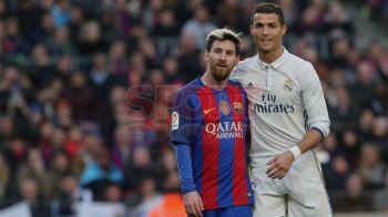 De ce nu s-au vazut Ronaldo si Messi pe teren? Pentru c-au fost prea ocupati sa stea impreuna :) Imagini rar vazute cu cei doi rivali, in meciul de aseara