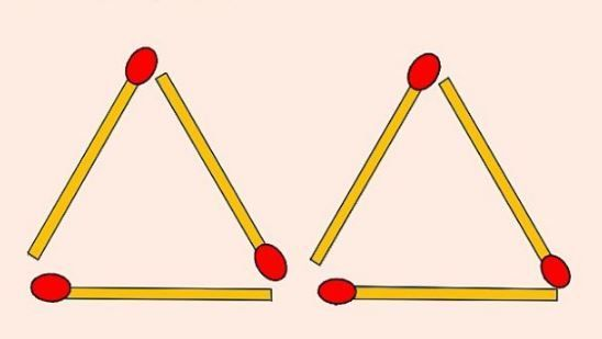Provocarea pe care 1 persoana din 100 stie sa o rezolve! Cum formezi 4 triunghiuri prin mutarea a 2 bete de chibrit