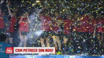 Campioanele de la CSM Bucuresti au sarbatorit cel de-al treilea titlu consecutiv. VIDEO