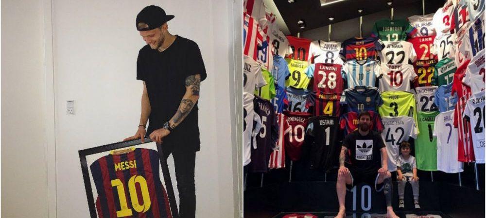 Momentul acela in care afli ca Messi are tricoul tau pus pe perete :) Reactia unui fotbalist e de nepretuit