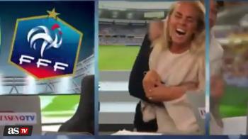 Reactie fabuloasa a acestei prezentatoare din Suedia! Cum a reactionat la golul victoriei cu Franta! VIDEO