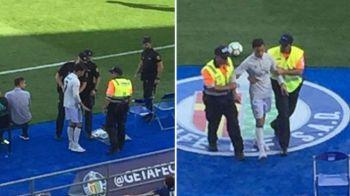 """Moment incredibil inainte de meciul 100 al lui Zidane! Politia l-a arestat pe """"Cristiano Ronaldo""""! Ce a facut omul care a intrat pe teren"""