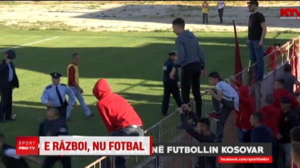 In Kosovo, ca la razboi! Portarul a inscris in min 90, suporterii au innebunit: jucatorii au fost batuti cu bate pe teren VIDEO