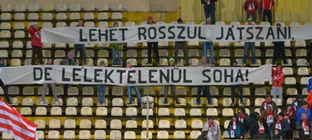 Coregrafie in limba maghiara a fanilor lui Sepsi! Ce au scris pe un banner. FOTO