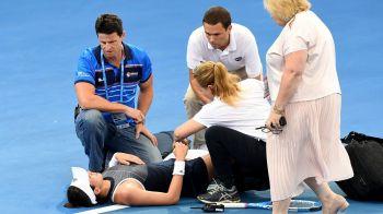 Imagini SOCANTE la Brisbane: Muguruza s-a prabusit dupa o serva si a avut nevoie de ajutor sa iasa din arena! Ce a patit