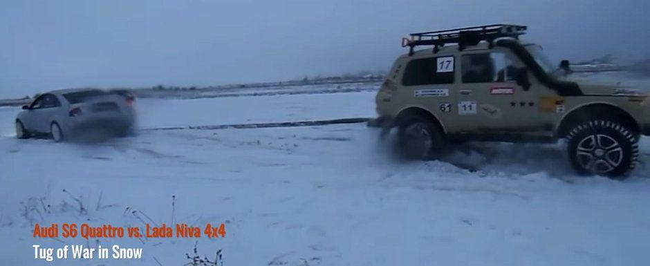 AUDI vs. LADA! Cine a castigat duelul facut de niste rusi in inghetata Siberie: VIDEO