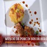 Reteta Ciprian Ogarca: Cartofi frantuzesti cu muschiulet de porc in sos de bere si crusta de migdale si fistic