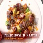 Reteta Tudor Marcu: Ficatei de pui inveliti in bacon cu cartofi sofeiga, cartofi mov si albi prajiti, dovlecel si sos de bere