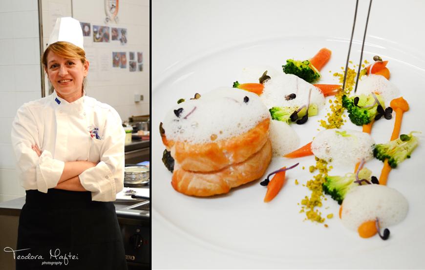 Chef Roxana Anghel de la Grand Hotel Continental te invata sa faci somon cu piure de morcov, broccoli, pudra de fistic si spuma de ghimbir