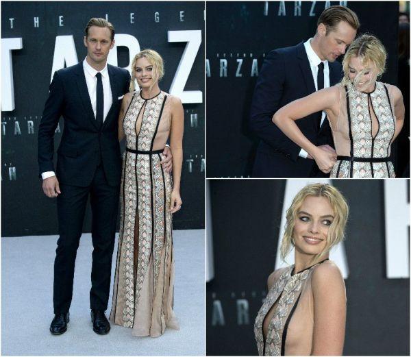 Margot Robbie, salvata de Alexander Skarsgard, de la un accident vestimentar la premiera filmului  The Legend of Tarzan . Cum i-a refuzat pe producatori dupa ce i-au cerut sa slabeasca