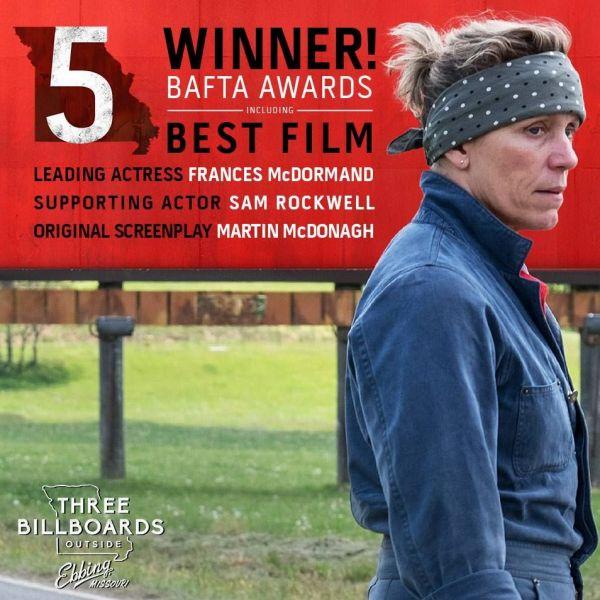 Filmul Three Billboards Outside Ebbing, Missouri - marele câștigător al premiilor BAFTA