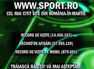 Inca 3 recorduri doborite! www.sport.ro, cel mai citit site de continut din .RO in martie