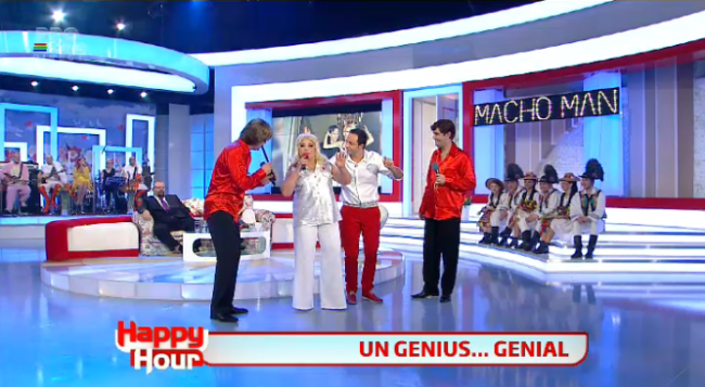"<span class=""userContent"">Laura Lavric, Gelu Voicu si Constantin Magureanu sunt noua trupa Genius! Cum au facut show pe melodia &quot;Macho Man&quot; </span>"