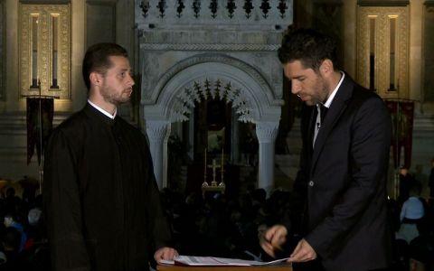 Alex Dima spune  Hristos A Înviat  la ProTV, in direct de la Manastirea Curtea de Arges
