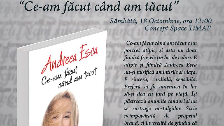 Andreea Esca lanseaza  Ce am facut cand am tacut  la Cluj in cadrul festivalului TiMAF