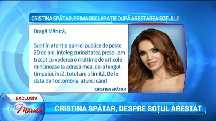Cristina Spatar, prima declaratie dupa arestarea sotului ei. Afirmatiile in exclusivitate care vor inchide gura rautaciosilor