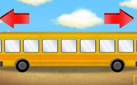 O noua intrebare face furori pe internet. Copiii de 10 ani stiu raspunsul. In ce directie merge autobuzul din imagine?