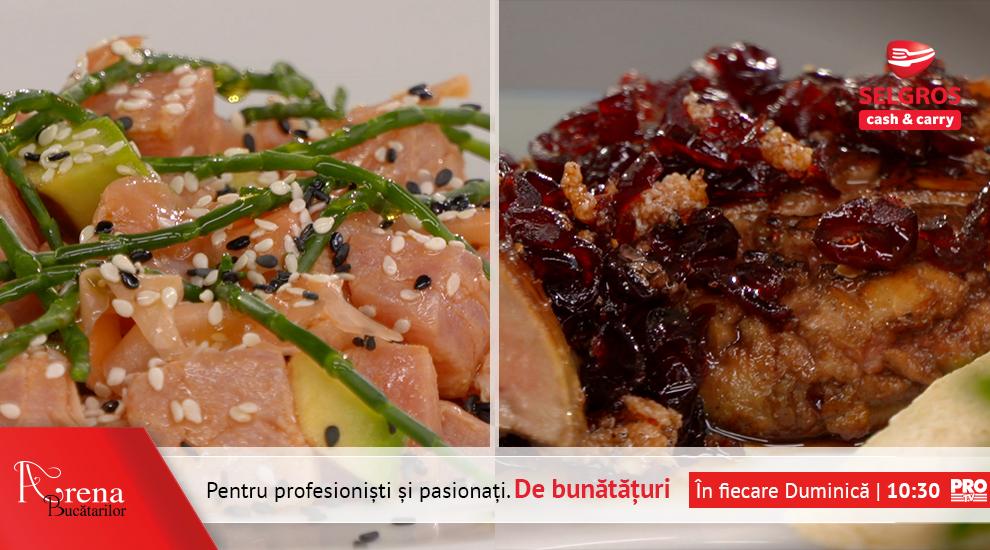 Foie gras cu dulceata de merisoare si poke de ton rosu cu mix de susan