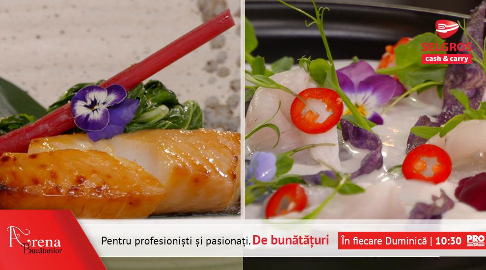 Sea bass Tiradito si Black cod in glauzura de miso