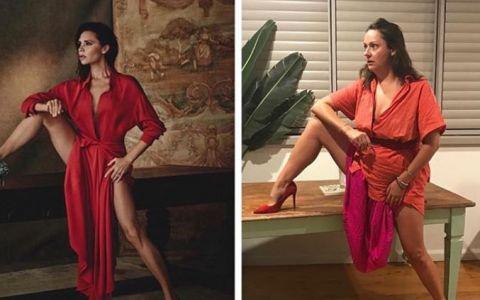 Femeia care parodiaza pozele sexy ale vedetelor face furori pe Instagram
