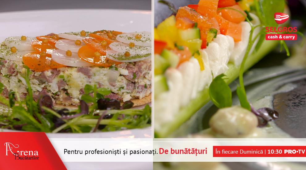Tartar din pipote de curcan cu salata de microplante si File de cod negru cu pui de balta si legume de sezon