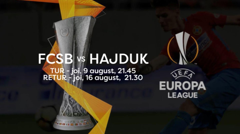 PRO TV transmite mâine, 9 august, de la 21:45, meciul dintre Hajduk Split și FCSB. Bucurați-vă de fotbal!