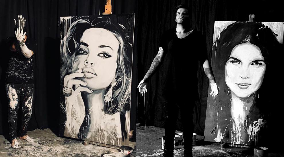 Liviu Săndulache, artistul care pictează cu mâinile chipuri celebre