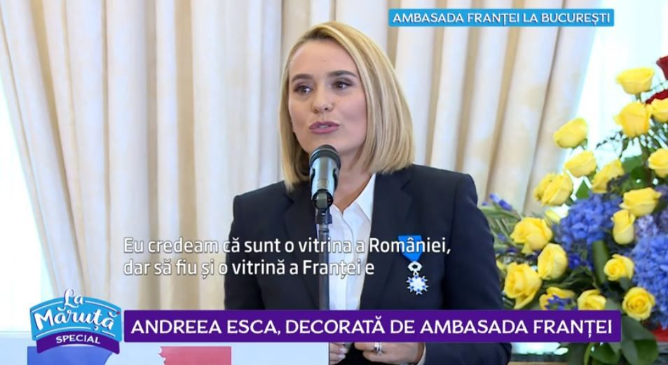 VIDEO Andreea Esca, premiată de Ambasada Franței. Cum a descurs distinsul eveniment