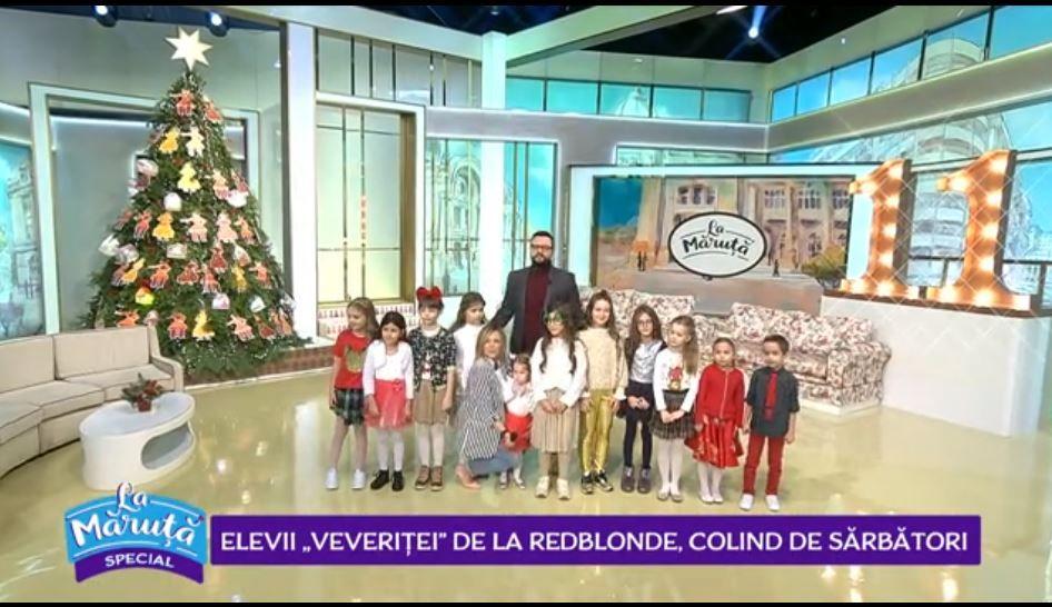 """VIDEO Astăzi """"La Maruță"""", elevii """"Veveriței"""" de la RedBlonde ne-au cântat colinde de Crăciun"""