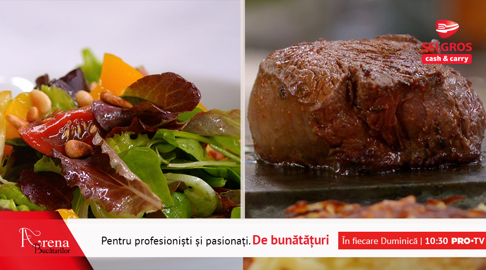 Meniu tradițional elvețian și friptură pe piatră încinsă cu Rösti de cartofi