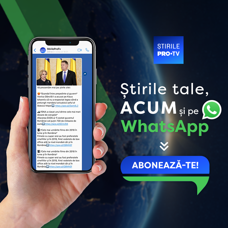 ȘtirilePROTV.ro lansează newsletter-ul zilnic pe WhatsApp!