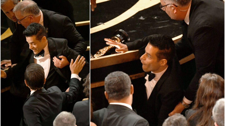 Oscar 2019: După ce a luat Oscarul pentru cel mai bun actor, Rami Malek a căzut de pe scenă