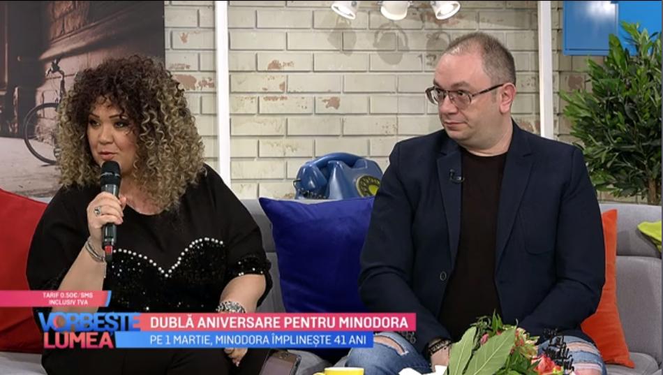 """VIDEO Dublă aniversare pentru Minodora: """"Eu cu soțul meu ne-am cunoscut într-un studiou"""""""