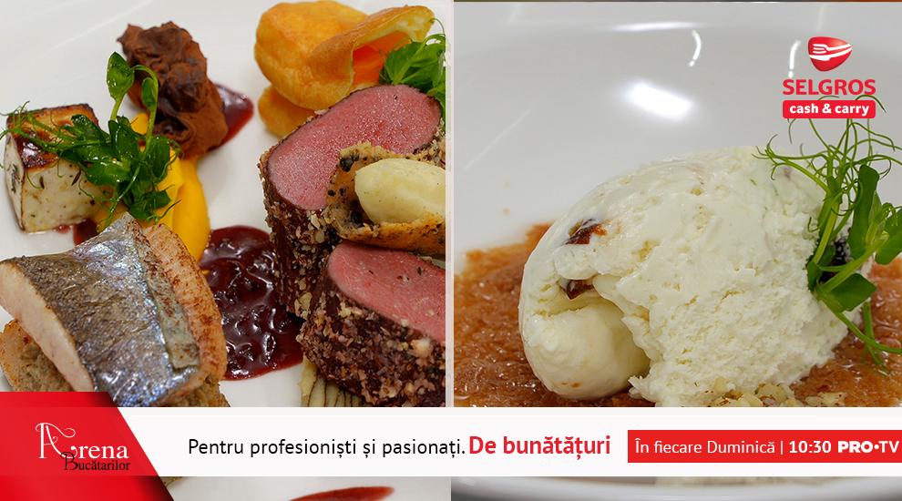 ARENA BUCĂTARILOR: Cerb cu păstrăv umplut cu pate de ciuperci + Mousse de ciocolată albă cu păstrăv, cocos și roșii