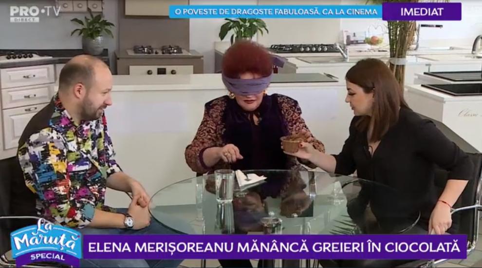 VIDEO Elena Merișoreanu mănâncă greieri în ciocolată