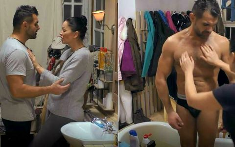 Brigitte îi face baie lui Florin Pastramă. Imaginile vorbesc de la sine