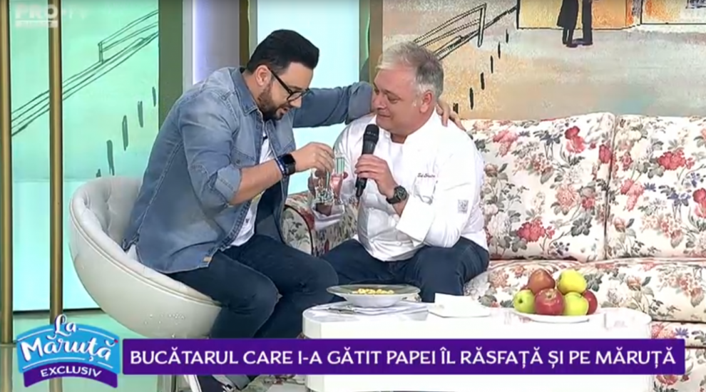 VIDEO Bucătarul care i-a gătit Papei îl răsfață și pe Cătălin Măruță