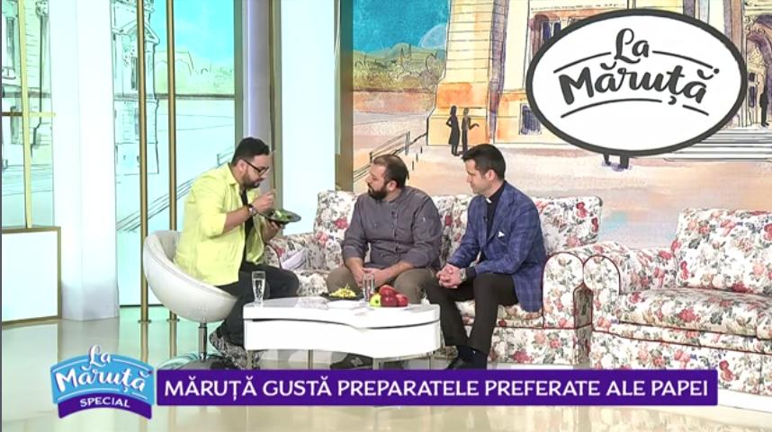 VIDEO Cătălin Măruță gustă preparatele preferate ale Papei