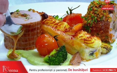 ARENA BUCĂTARILOR: Mușchiuleț de porc umplut cu ciuperci, ștrudel de legume și cremă de praz