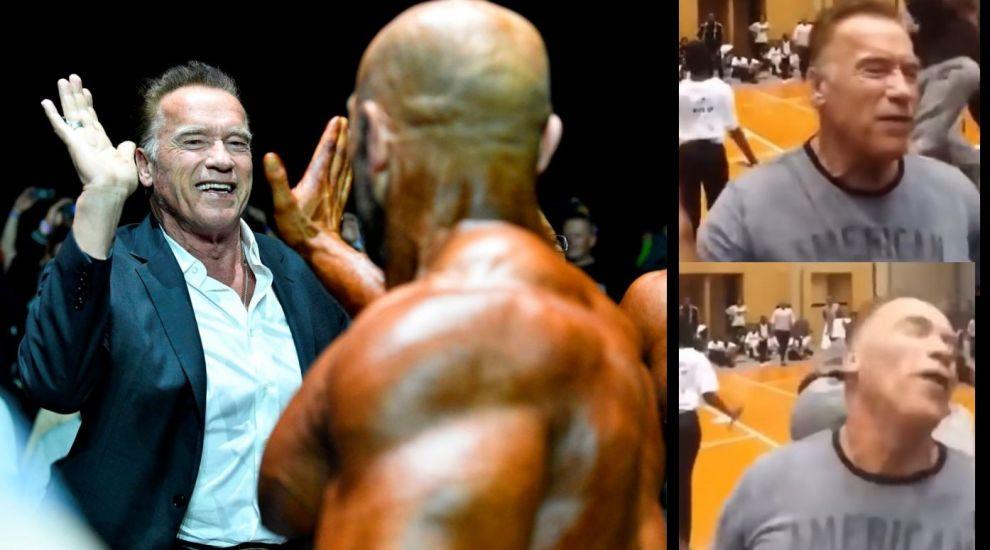 Prima reacție a lui Arnold Schwarzenegger după ce a fost lovit mișelește de un bărbat