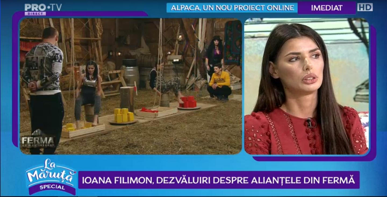 Ioana Filimon, dezvăluiri despre alianțele din Ferma. Cum explică jocul Otnielei