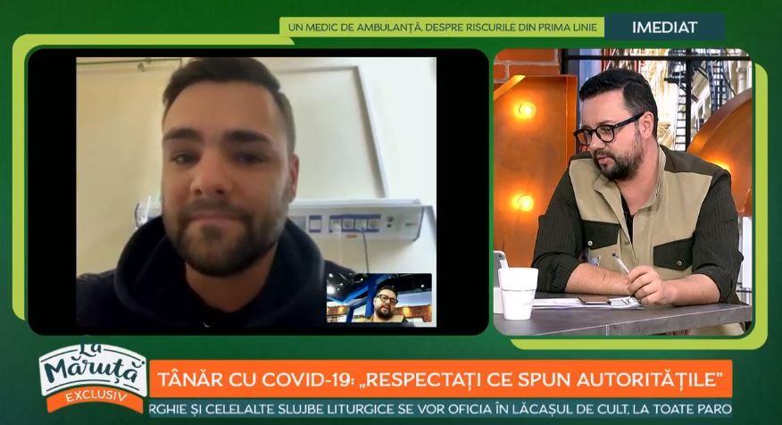"""Andrei Scrab, un tânăr diagnosticat cu COVID-19, face dezvăluiri: """"În spital nu e plăcut"""""""