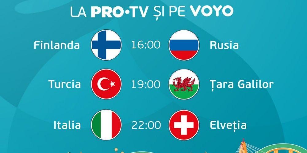 Euro 2020: Urmărește meciurile zilei la PRO TV sau LIVE pe VOYO