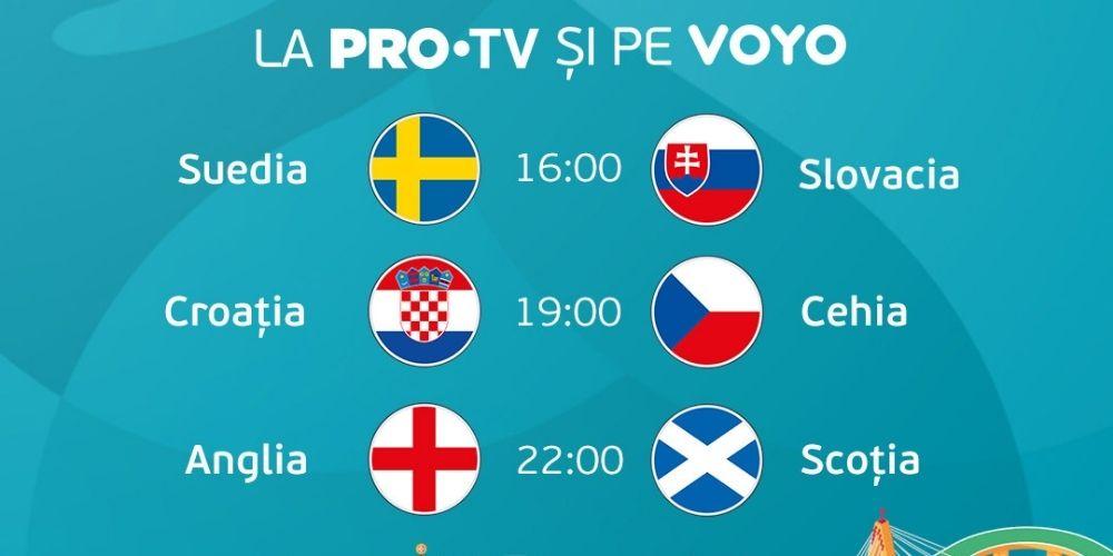 Euro 2020: Urmărește meciurile zilei la PRO TV sau pe VOYO